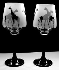 Giraffe gift Wine Glasses black stem   Boxed