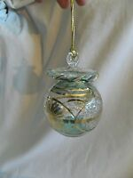 Egyptian Handmade 24K Gold Accent Ball Glass Christmas Ornament Unique # 690