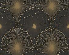 Vlies Tapete SPOT 3 AS 30553-1 modernes grafisches Design Schwarz Gold Glitzer