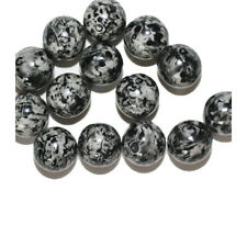 Black Gray Speckled Round Czech Pressed Glass Beads 10mm (pack of 14)