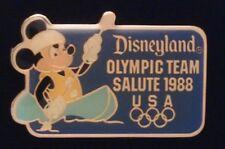 Disney Pin~Disneyland~Olympic Seoul~SALUTE 1988 ~Kayak~Mickey Mouse~USA 5 rings