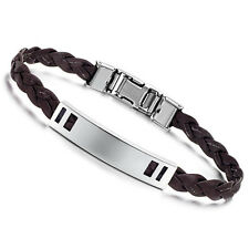 "Mens Unisex Stainless Steel Brown PU Leather Bracelet 8"" G4"