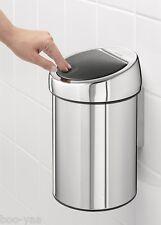 Brabantia Touch bin 3 Kosmetik Mülleimer EDELSTAHL poliert mit Wandhalterung