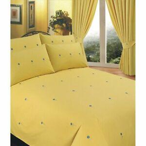 "Goldsmith 'Bellis' Single Duvet Set and Tape Top Curtains (66"" x 54"") - Yellow"