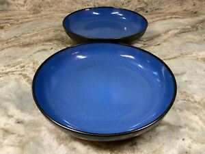 Large Dinner, Pasta Bowls. Set Of 2. Pretty Blue And Matte Black. 9 Inch. New.