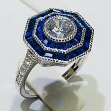 Platinum Sterling Silver Blue & White Sapphire Double Octagon Halo Ring Size 10