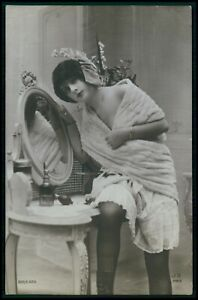 French risque woman fur and lingerie original vintage old 1920s photo postcard