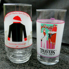 Travers Stakes Horse Racing Glasses 1991&1992 Corporate Report ~ Thunder Rumble