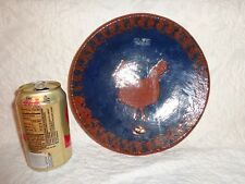 Ned Foltz Redware Pottery Rooster Dinner Plate, Signed & Dated 1982, 9-1/8""