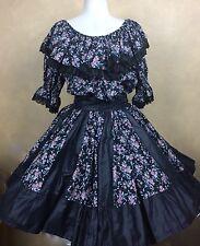 Square Dance Outfit Skirt Blouse Man Tie Black Floral w Solid & Lace Trim