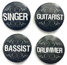 BAND MUSIC BADGES Set of 4 incl SINGER GUITARIST BASSIST DRUMMER