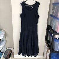 Kaktus Women's Size L Large Navy Blue Sleeveless Maxi Dress Pleated Skirt Lined