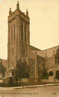 DB Postcard CA K222 Sepia First Presbyterian Church Pasadena Street Cancel 1911