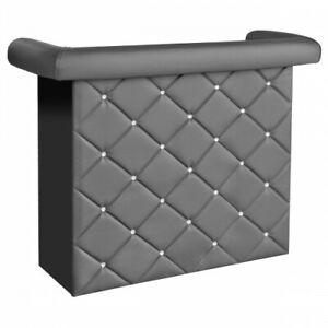 Crystal diamanté  BLACK,PALE CREAM OR GREY Faux Leather Miami Home Bar Unit