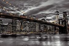 NEW YORK CITY SKYLINE POSTER - 24x36 MANHATTAN NIGHT NYC BRIDGE ASSAF 33930