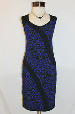 CARMEN MARC VALVO Black & Deep Blue Stretch Knit Dress ~ L