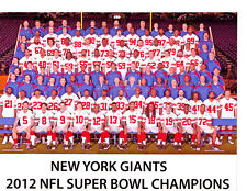 2012 NEW YORK GIANTS 8 1/2 x11 TEAM PHOTO MANNING  FOOTBALL SUPER BOWL CHAMPIONS