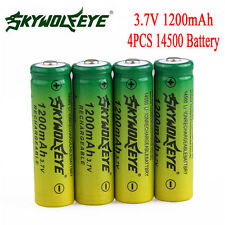 4PCS 3.7V 1200mAh 14500 AA Li-ion Rechargeable Battery For LED Flashlight Torch