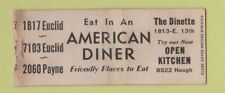 Matchbook Cover - American Diner Cleveland Oh Bobtail Wear