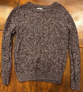 Old Navy Sweater Kids 10/12 Large Long Sleeves Pull Over Maroon /White Color