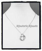 Collier Chaîne + Pendentif Double Coeur ZIRCONIUM Argent Massif 925/1000 Bijoux