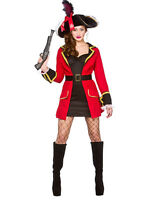Adult Ladies Sexy Blackheart Captain Buccaneer Pirate Fancy Dress Costume New