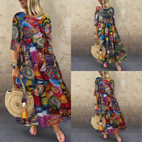 ZANZEA Women Vintage Ethnic Long Shirt Dress Floral Print Midi Dress Kaftan Tops