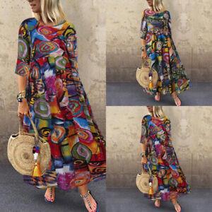 ZANZEA Women Vintage Ethnic Long Shirt Dress Floral Print Midi Dress Kaftan Tops