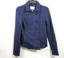 Delias Womens Blue Peacoat Jacket Size Small Lined Lightweight Double Breasted