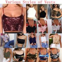 Women Sleeveless Crop Tops Backless Vest Halter Tank Tops Short Blouse T-Shirt A