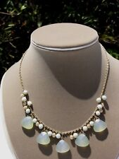 Short Necklace Costume Jewelry Dangle Green Beads Gold-Tone ball Charms