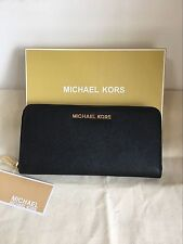 Auth Michael Kors Continental Jet Set Zip-Around Wallet Black