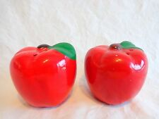 "Red APPLE Salt and Pepper Shakers 2"" Ceramic Green Leaves Plastic Plugs"