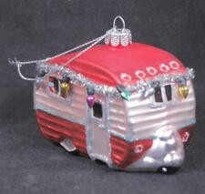 Glass 4IN. Red Camper Christmas Ornament