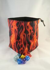 Fire Dice Bag Square Base Freestanding Reversible Drawstring Tile Pouch RPG D&D