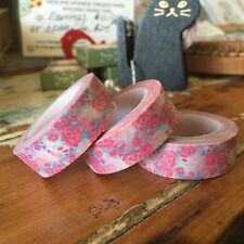 WASHI TAPE PINK & BLUE VINTAGE FLORAL 15MM WIDE X 10MTR ROLL SCRAP CRAFT WRAP