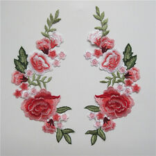 1 Pair Flower Embroidered Applique Sew Patch Neckline Collar Transfer Lace Trim