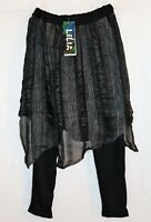 LILIA Brand Black Crop Leggings Chiffon Over Skirt Size S BNWT  #SH04