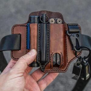 EDC Leather Sheath For Knife Belt Flashlight Holster Multitools Organizer US NEW