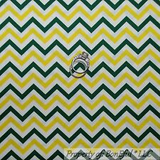 BonEful Fabric Cotton Quilt White Yellow Green Bay Packers Chevron Stripe SCRAP