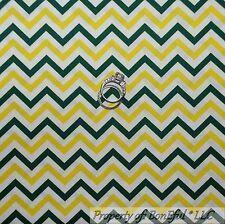 BonEful Fabric FQ Cotton Quilt VTG White Yellow Green Bay Packers Chevron Stripe