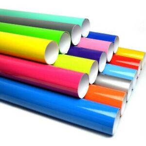 Gloss Vinyl Wrap Sheet Roll Sticker (Air/Bubble Free) All Colours Multiple Sizes