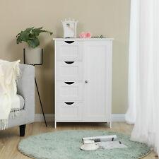 Bathroom Cabinet 4 Drawer  White Wooden Storage Cupboard Standing Unit LHC41W