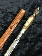 Letter Opener with stone inlay with star pattern and a leather sheath