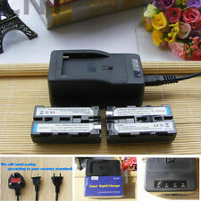 Two Batteries + Super Charger For Sony NP-F330 NP-F550 NP-F570 NP-F750 NP-F950