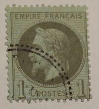 N°25- 1c olive Napoléon lauré oblitéré cachet perlé