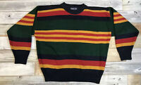 VTG Warren Scott Men's M Colorful Striped Color Block Knit Sweater Cosby Biggie