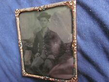 1/6 Tintype of Young Civil War Soldier Sitting with Slouch Hat in Mat and Frame