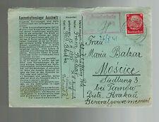 1941 Germany Auschwitz Concentration Camp Cover KZ Franz Balzar to Tarnow Poland