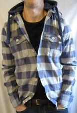 SUPERDRY Mens BLUE / GREY Check Long Sleeve Flannel Hoodie